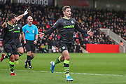 Forest Green Rovers Jack Aitchison(29), on loan from Celtic scores a goal 0-1 and celebrates during the EFL Sky Bet League 2 match between Cheltenham Town and Forest Green Rovers at Jonny Rocks Stadium, Cheltenham, England on 2 November 2019.