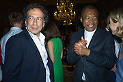 MARK WADHWA;  OKWUL ENWEZOR,, Okwui Enwezor and Vinyl Facorty hosted party at Ca'Sagredo, Campo Santa Sofia Venice Biennale, Venice. 5 May 2015