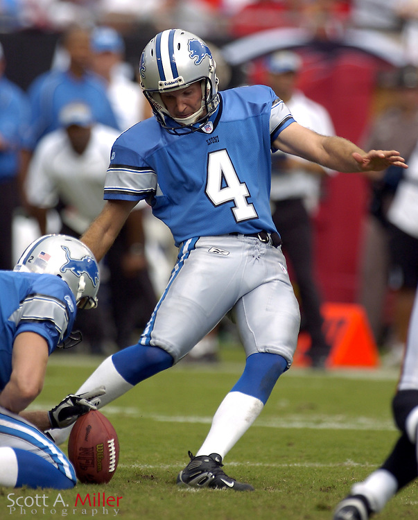 Oct. 5, 2005; Tampa, FL, USA;  Detroit Lions place kicker Jason Hanson in action during the third quarter of the Lions 17-13 loss to the Tampa Bay Buccaneers at Raymond James Stadium.          ©2005 Scott A. Miller..©2005 Scott A. Miller