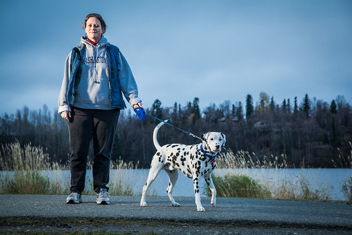 Peggy Wilcox and her 10 month old Dalmatian, Angus, at Westchester Lagoon, Anchorage