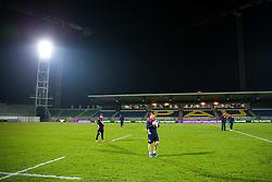 Rhodri Williams warms up as Bristol Rugby arrive at the stadium - Rogan Thomson/JMP - 16/12/2016 - RUGBY UNION - Stade du Hameau - Pau, France - Pau v Bristol Rugby - EPCR Challenge Cup.