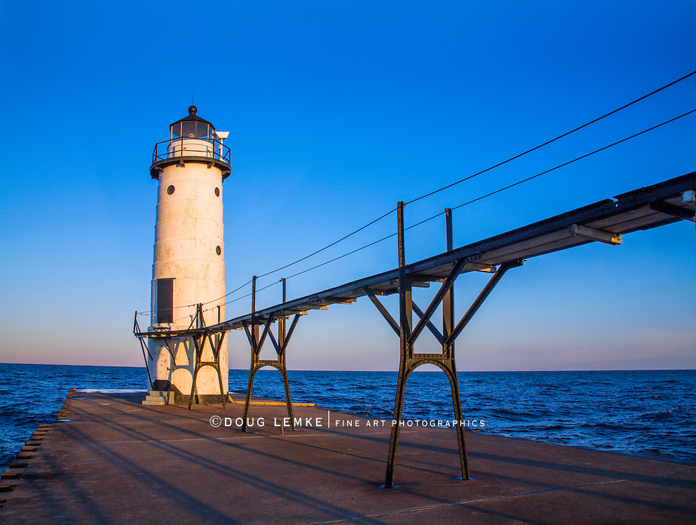 The Manistee North Pierhead Lighthouse On A Beautiful Autumn Morning In Manistee Michigan, USA