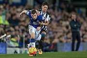 Séamus Coleman (Everton) is fouled by Ayoze Perez (Newcastle United) during the Barclays Premier League match between Everton and Newcastle United at Goodison Park, Liverpool, England on 3 February 2016. Photo by Mark P Doherty.
