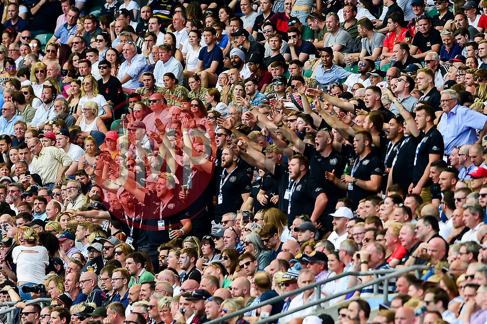 Exeter Chiefs players do the Tomahawk Chop - Mandatory by-line: Ryan Hiscott/JMP - 01/06/2019 - RUGBY - Twickenham Stadium - London, England - Exeter Chiefs v Saracens - Gallagher Premiership Rugby Final