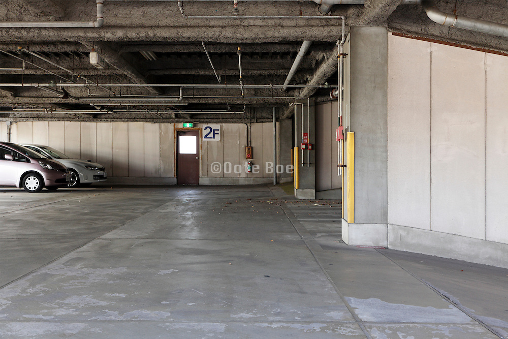parking garage ramp and pedestrian exit door
