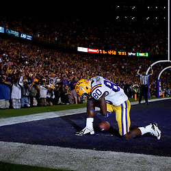 November 3, 2012; Baton Rouge, LA, USA; LSU Tigers wide receiver Jarvis Landry (80) kneels after scoring a touchdown against the Alabama Crimson Tide during the fourth quarter of a game at Tiger Stadium. Alabama defeated LSU 21-17. Mandatory Credit: Derick E. Hingle-US PRESSWIRE