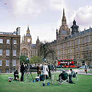 UK, London. The Village Green: From Blair to Brexit.<br /> A story on the relationship between the Media, Politicians and the public as they come together on College Green, a small patch of land next to The Houses of Parliament in Westminster. Photo shows the square on the day of the 2005 General Election.<br /> Photo@Steve Forrest/Workers' Photos