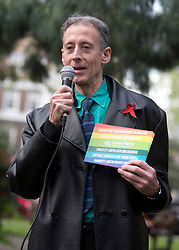 © Licensed to London News Pictures. 01/05/2015. London, UK. Campaigner Peter Tatchell gives a speech at the launch of the Green Party's LGBTIQ manifesto in Soho Square, central London. Ms Bennett announced Green pledges to review the discriminatory blood ban and introduce LGBTIQ-inclusive sex education. Photo credit: LNP