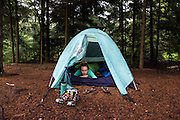 Sydney Kaufman drinks coffee in the tent at a campsite during a backpacking trip in the middle section of the Dolly Sods Wilderness in West Virginia, June 15, 2015. <br /> Photo by David Lienemann<br /> www.davidlienemann.com