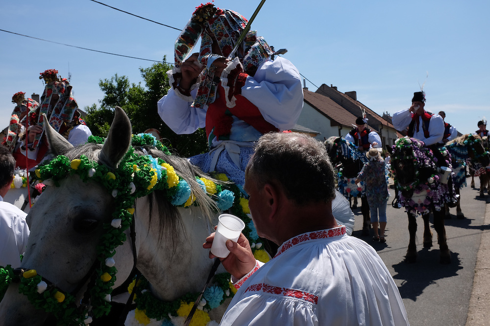 Kings having a drink, at the Jizda Kralu, in Kunovice, Czech Republic, at the Ride of the Kings.