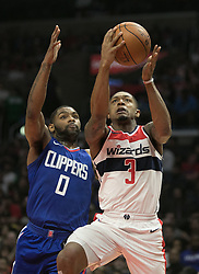 December 9, 2017 - Los Angeles, California, United States of America - Bradley Beal #3 of the Washington Wizards drives against Sindarius Thornwell #0 the Los Angeles Clippers during their NBA game on Saturday December 9, 2017 at the Staples Center in Los Angeles, California. Clippers defeat Wizards, 113-112. JAVIER ROJAS/PI (Credit Image: © Prensa Internacional via ZUMA Wire)
