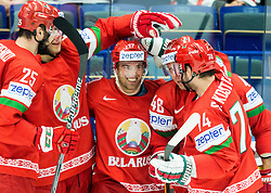 Players of Belarus celebrate during Ice Hockey match between Belarus and Slovenia at Day 2 in Group B of 2015 IIHF World Championship, on May 2, 2015 in CEZ Arena, Ostrava, Czech Republic. Photo by Vid Ponikvar / Sportida