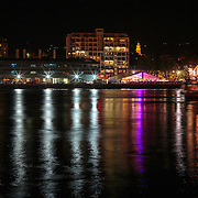 Dockside parties light up Franklin Wharf in Sullivan's Cove, New Year Fireworks, Hobart, Tasmania, Australia