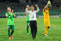 Aljaz Krefl of NK Olimpija, Rodolfo Vanoli, head coach of NK Olimpija, Aleksander Seliga of NK Olimpija after the 1st Leg football match between NK Olimpija Ljubljana (SLO) and FK AS Trenčin (SVK) in Second Qualifying Round of UEFA Champions League 2016/17, on July 13, 2016 in SRC Stozice, Ljubljana, Slovenia. Photo by Vid Ponikvar / Sportida