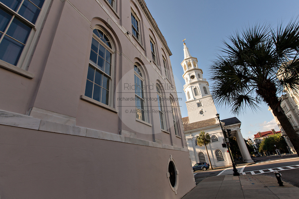 St Michaels Church and City Hall on Meeting Street in Charleston, SC.