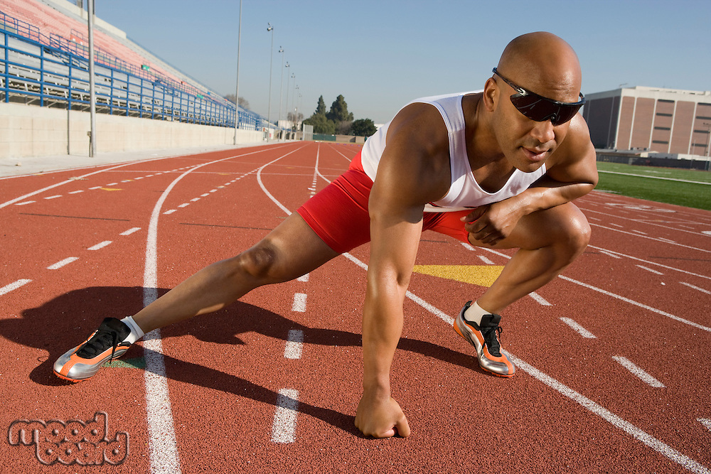 Athlete warming up before run