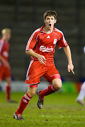 WARRINGTON, ENGLAND - Saturday, March 1, 2008: Liverpool's Ryan Flynn in action against Bolton Wanderers during the FA Premiership Reserves League (Northern Division) match at the Halliwell Jones Stadium. (Photo by David Rawcliffe/Propaganda)