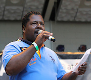 DJ Eddie Love appears at Marcus Garvey Park on August 11, 2011 in New York City.