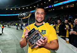 Leroy Houston of Australia poses with the trophy after the match - Mandatory byline: Patrick Khachfe/JMP - 07966 386802 - 08/10/2016 - RUGBY UNION - Twickenham Stadium - London, England - Argentina v Australia - The Rugby Championship.