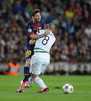 FUSSBALL   INTERNATIONAL   CHAMPIONS LEAGUE   2012/2013      FC Barcelona - Celtic FC Glasgow       23.10.2012 ZUSAMMENPRALL; Lionel Messi (li, Barca) gegen Scott Brown (Celtic)
