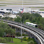 The people mover at Orlando International Airport remains functional but mostly empty to air passengers on Friday, April 17, 2020 in Orlando, Florida. (Alex Menendez via AP)