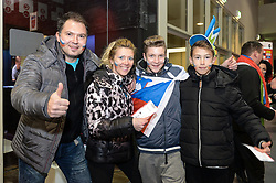Fans of Slovenia before handball match between National teams of Slovenia and Spain on Day 6 in Main Round of Men's EHF EURO 2018, on January 23, 2018 in Arena Varazdin, Varazdin, Croatia. Photo by Mario Horvat / Sportida