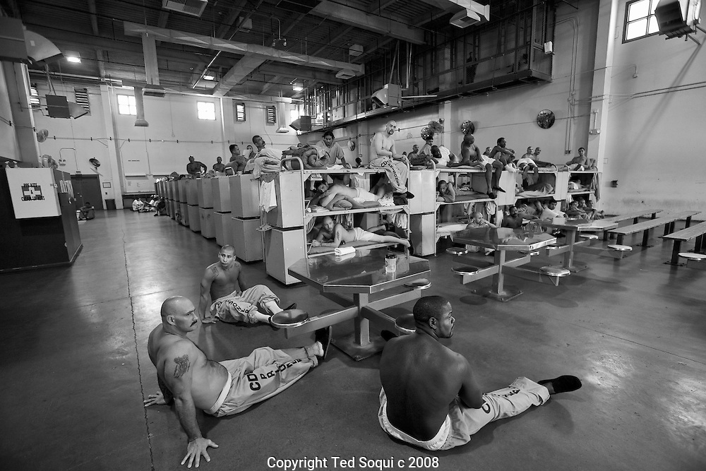 "California State Prison, Los Angeles County located in the city of Lancaster, CA..Inmates are seated during a ""lock down"" in the reception room dorm."