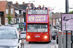 © Licensed to London News Pictures. 02/06/2017. London, UK. <br /> Former UKIP leader Nigel Farage  and UKIP General Election candidate Peter Harris arrive on a campaign bus in Dagenham Heathway for a general election campaign. Photo credit: Ray Tang/LNP