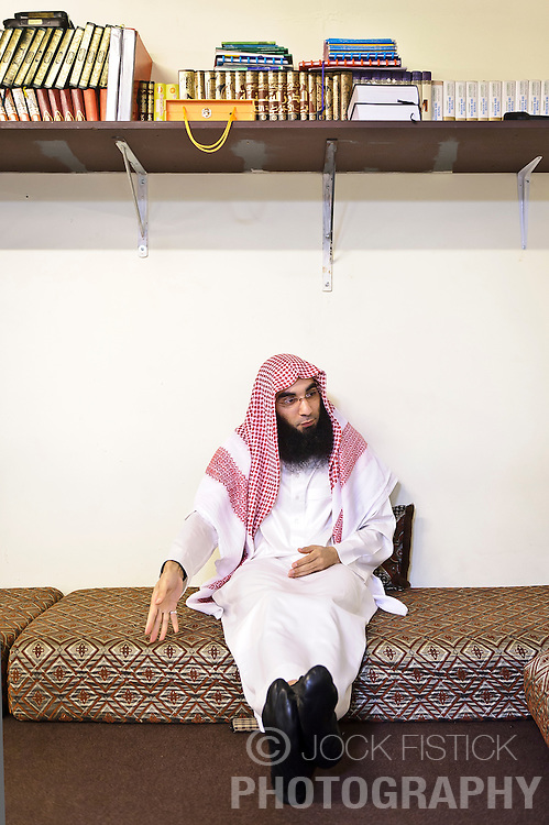 "Fouad Belkacem, a.k.a. Abu Imran, an Islamic extremist who is spearheading the movement ""Sharia4Belgium"", shares his views during an interview, at his headquarters in Antwerp, Belgium, on Tuesday, April 3, 2012. (Photo © Jock Fistick)"