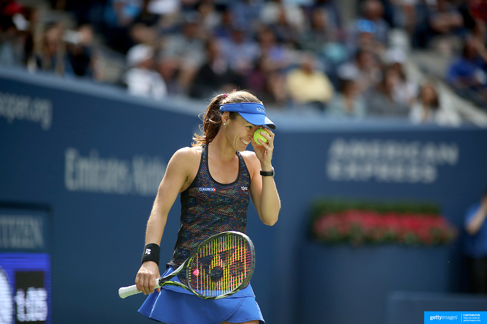 2017 U.S. Open Tennis Tournament - DAY FOURTEEN. Martina Hingis of Switzerland reacts as she prepares to serve at Championship point with partner Yung-Jan Chan of Chinese Taipei against Lucie Hradecka of the Czech Republic and Katerina Siniakova of the Czech Republic in the Women's Doubles Final at the US Open Tennis Tournament at the USTA Billie Jean King National Tennis Center on September 10, 2017 in Flushing, Queens, New York City.  (Photo by Tim Clayton/Corbis via Getty Images)