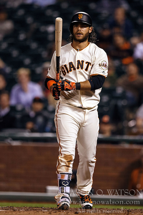 SAN FRANCISCO, CA - APRIL 18: Brandon Crawford #35 of the San Francisco Giants at bat against the Arizona Diamondbacks during the ninth inning at AT&T Park on April 18, 2016 in San Francisco, California. The Arizona Diamondbacks defeated the San Francisco Giants 9-7 in 11 innings.  (Photo by Jason O. Watson/Getty Images) *** Local Caption *** Brandon Crawford
