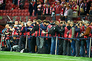 Warsaw, Poland - 2017 September 04: Photographers work during soccer match Poland v Kazakhstan - FIFA 2018 World Cup Qualifier at PGE National Stadium on September 04, 2017 in Warsaw, Poland.<br /> <br /> Adam Nurkiewicz declares that he has no rights to the image of people at the photographs of his authorship.<br /> <br /> Picture also available in RAW (NEF) or TIFF format on special request.<br /> <br /> Any editorial, commercial or promotional use requires written permission from the author of image.<br /> <br /> Mandatory credit:<br /> Photo by © Adam Nurkiewicz / Mediasport