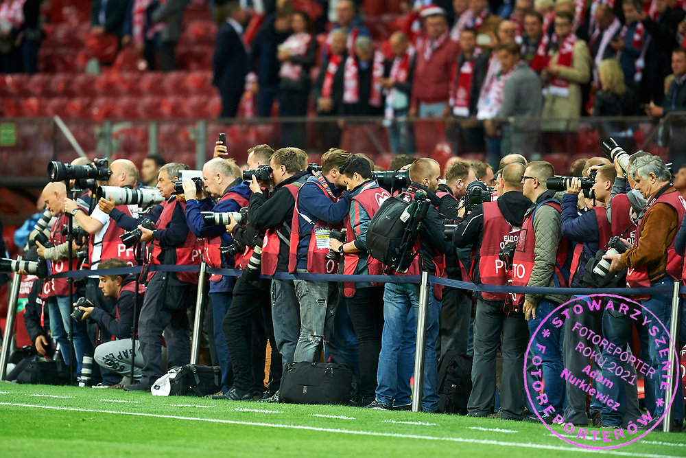 Warsaw, Poland - 2017 September 04: Photographers work during soccer match Poland v Kazakhstan - FIFA 2018 World Cup Qualifier at PGE National Stadium on September 04, 2017 in Warsaw, Poland.<br /> <br /> Adam Nurkiewicz declares that he has no rights to the image of people at the photographs of his authorship.<br /> <br /> Picture also available in RAW (NEF) or TIFF format on special request.<br /> <br /> Any editorial, commercial or promotional use requires written permission from the author of image.<br /> <br /> Mandatory credit:<br /> Photo by &copy; Adam Nurkiewicz / Mediasport