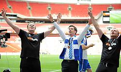 Phil Kite, Bristol Rovers Manager, Darrell Clarke and Steve Yates - Photo mandatory by-line: Neil Brookman/JMP - Mobile: 07966 386802 - 17/05/2015 - SPORT - football - London - Wembley Stadium - Bristol Rovers v Grimsby Town - Vanarama Conference Football