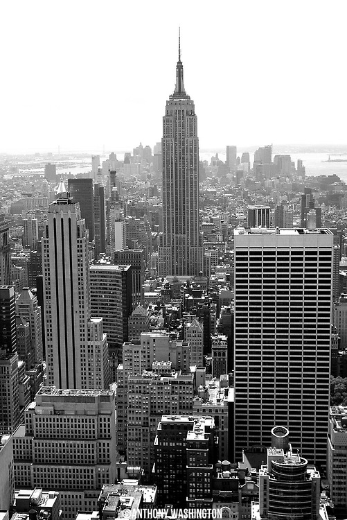 An aerial shot of the Empire State Building in New York city on Friday, August 8, 2010
