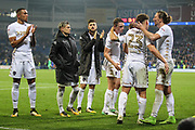 Leeds United players after the EFL Sky Bet Championship match between Cardiff City and Leeds United at the Cardiff City Stadium, Cardiff, Wales on 26 September 2017. Photo by Andrew Lewis.