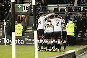 Celebrations as Derby midfielder Bradley Johnson scores the opening goal during the Sky Bet Championship match between Derby County and Hull City at the iPro Stadium, Derby, England on 5 April 2016. Photo by Aaron  Lupton.