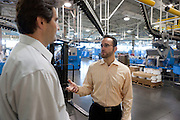"Jonathon ""J"" Stone (right), Fellow with the Environmental Defense Fund and Paul Jakubski (left) of News Corp. Jonathon Stone of the Environmental Defense Fund consulting for the NewsCorp printing plant in Bronx, New York."