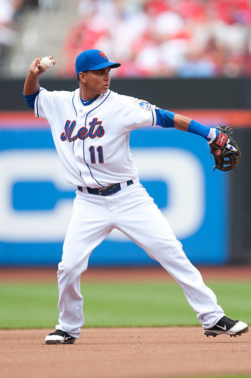 NEW YORK - JULY 16: Ruben Tejada #11 of the New York Mets defends his position during the game against the Philadelphia Phillies at Citi Field on July 16, 2011 in the Queens borough of Manhattan. (Photo by Rob Tringali) *** Local Caption *** Ruben Tejada
