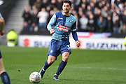 Wycombe Wanderers defender Joe Jacobson (3) looks to release the ball during the EFL Sky Bet League 1 match between Milton Keynes Dons and Wycombe Wanderers at stadium:mk, Milton Keynes, England on 1 February 2020.