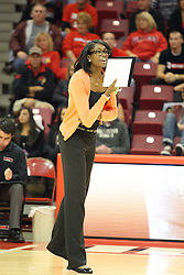 22 September 2012:  Assistant Coach Victoria Brown during an NCAA womens volleyball match between the Bradley Braves and the Illinois State Redbirds at Redbird Arena in Normal IL