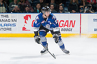 KELOWNA, CANADA - MARCH 11: Logan Fisher #20 of Victoria Royals looks to block a shot against the Kelowna Rockets on March 11, 2015 at Prospera Place in Kelowna, British Columbia, Canada.  (Photo by Marissa Baecker/Shoot the Breeze)  *** Local Caption *** Logan Fisher;