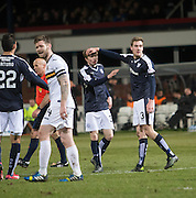 Dundee&rsquo;s Kane Hemmings thanks Craig Wighton after the youngster assisted his goal - Dundee v Dumbarton, William Hill Scottish Cup Fifth Round at Dens Park<br /> <br />  - &copy; David Young - www.davidyoungphoto.co.uk - email: davidyoungphoto@gmail.com