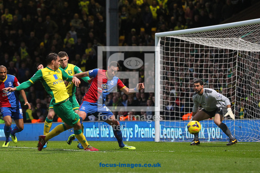Picture by Paul Chesterton/Focus Images Ltd +44 7904 640267<br /> Johan Elmander of Norwich has a shot on goal that narrowly misses during the Barclays Premier League match at Carrow Road, Norwich.