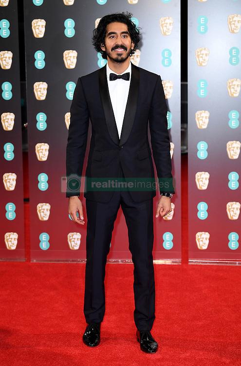 Dev Patel attending the EE British Academy Film Awards held at the Royal Albert Hall, Kensington Gore, Kensington, London. Picture date: Sunday February 12, 2017. Photo credit should read: Doug Peters/ EMPICS Entertainment