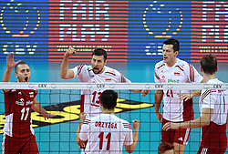 Dawid Konarski #3, /pol2/, Michal Kubiak #13, Pawel Zatorski #17 during volleyball match between National teams of Poland and Slovenia in Quarterfinals of 2015 CEV Volleyball European Championship - Men, on October 14, 2015 in Arena Armeec, Sofia, Bulgaria. Photo by Ronald Hoogendoorn / Sportida