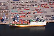 Aerial Photography of Gramaldi Lines Ships at Dundalk Marine Terminal In Baltimore Maryland