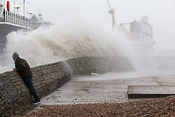 © Licensed to London News Pictures. 26/01/2016. Brighton, UK. Large waves batter  Brighton seafront as the remains of Storm Jonas reach the UK from the USA. Photo credit: Hugo Michiels/LNP