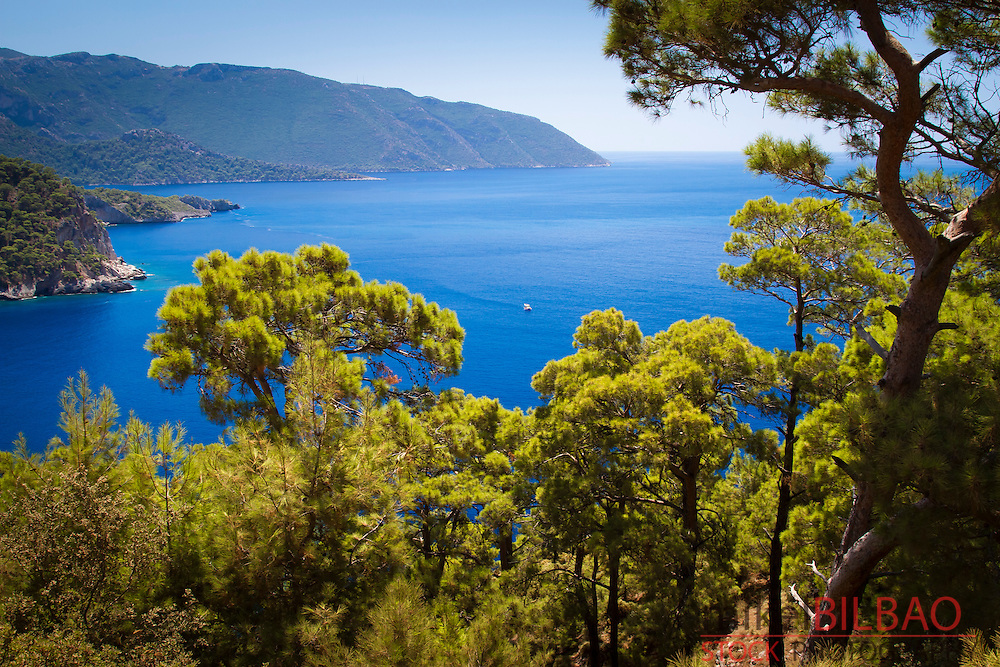 Forest and coastal landscape. Kabak Valley. Lycian Way.  Mugla province, Aegean coast, Turkey.