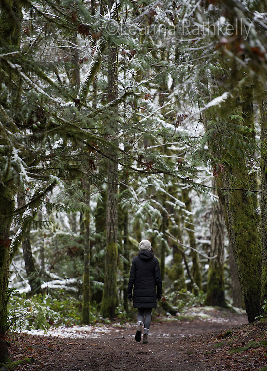 Light snow highlights the mossy old growth trees along Tod Creek, part of Gowlland Tod Provincial Park near Victoria, BC